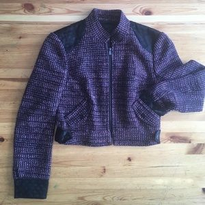 bebe purple tweed moto style lined jacket